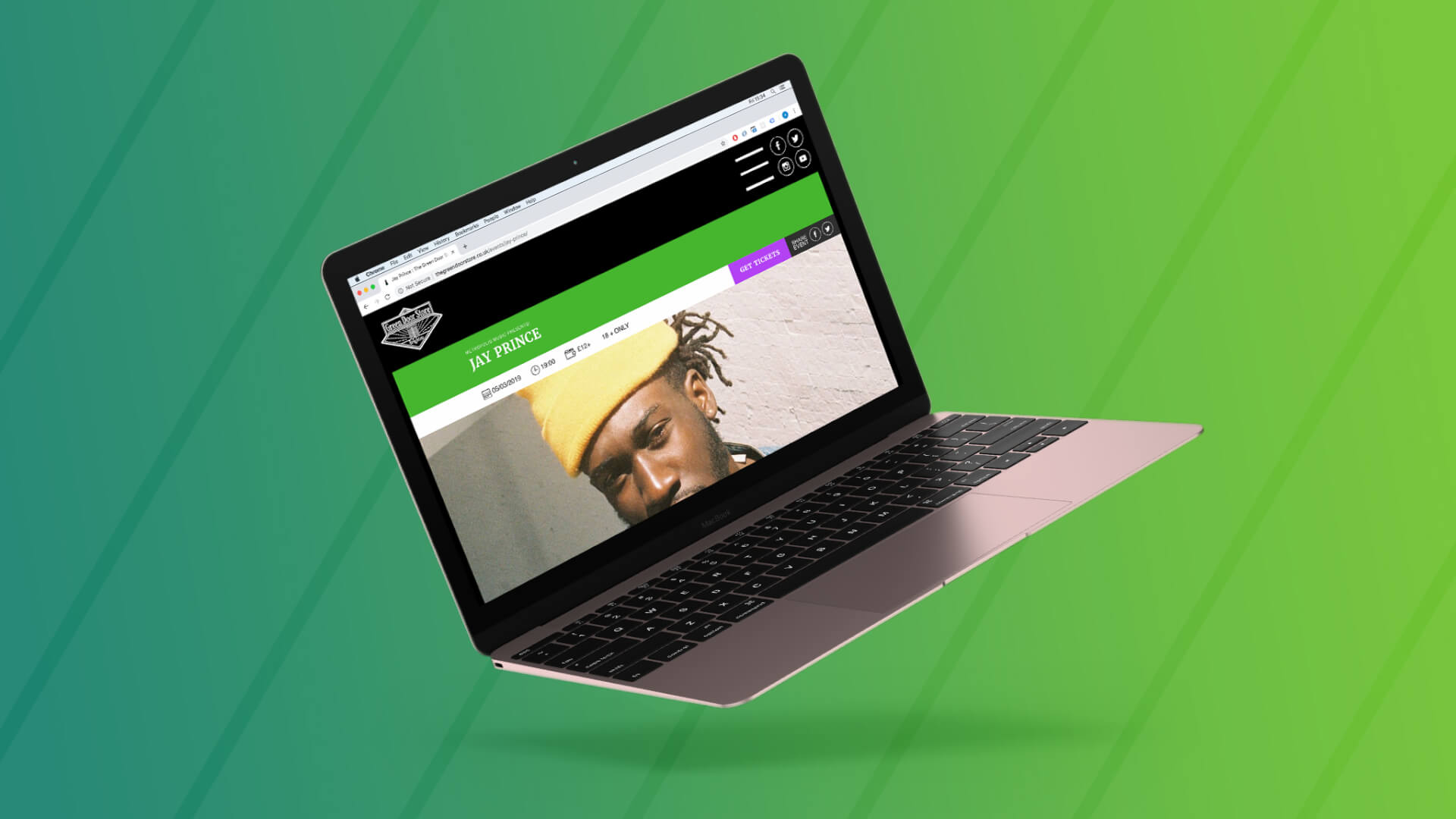 An image showing how the single events look on the new Green Door Store website, on a Macbook Pro. This event is for the artist Jay Prince.