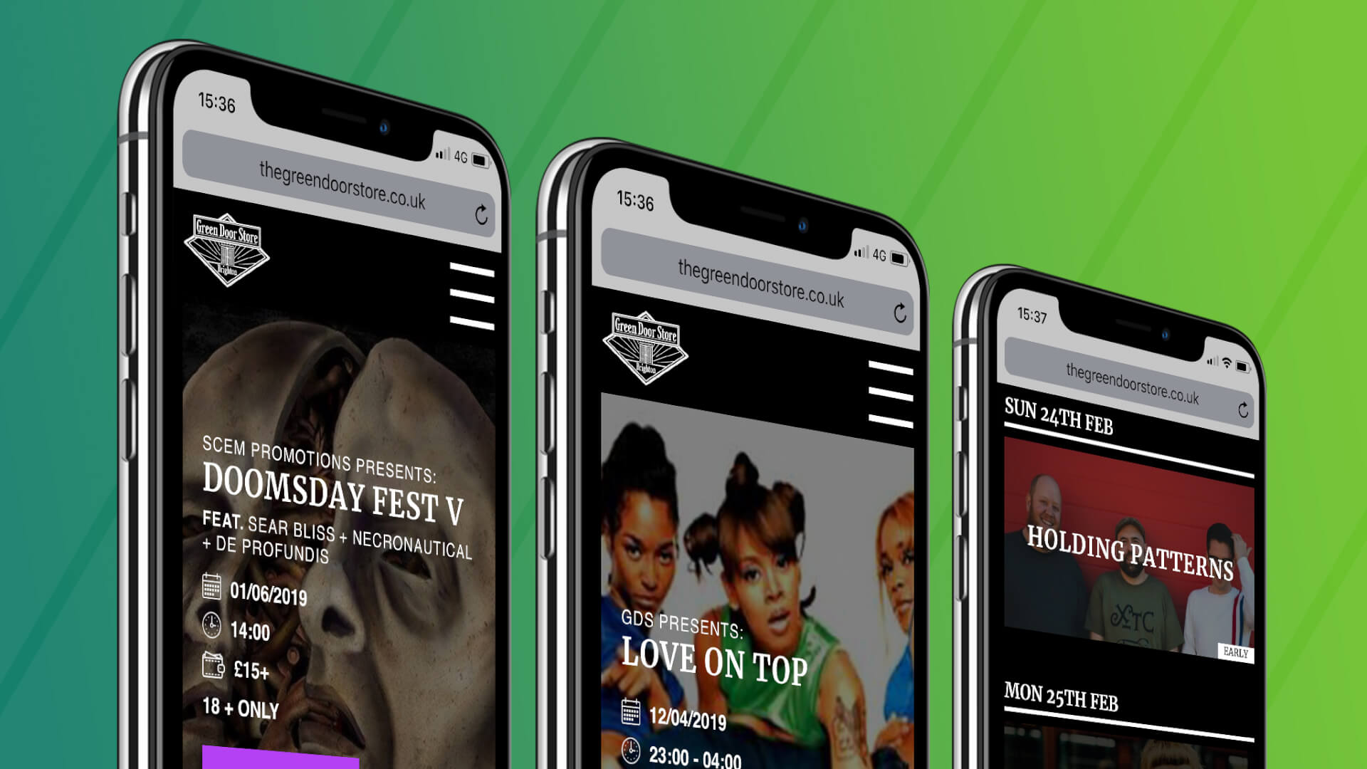 An image showing the new website for The Green Door Store on three phones. From left to right: The homepage carousel, a second view of the homepage carousel and the main listings page.