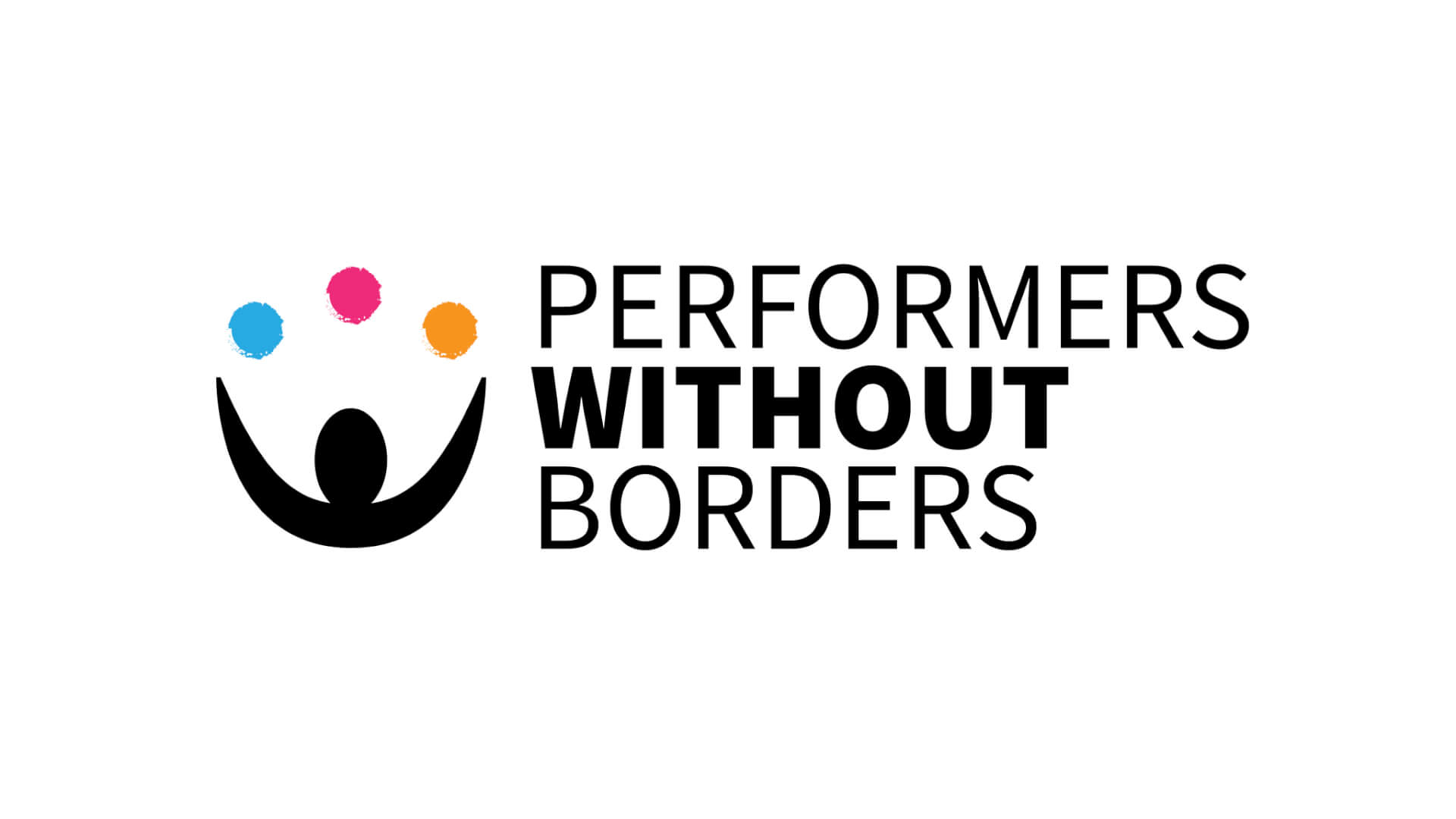 An image showing the new Performers Without Borders logo, which features an icon representing a person juggling three different coloured balls.