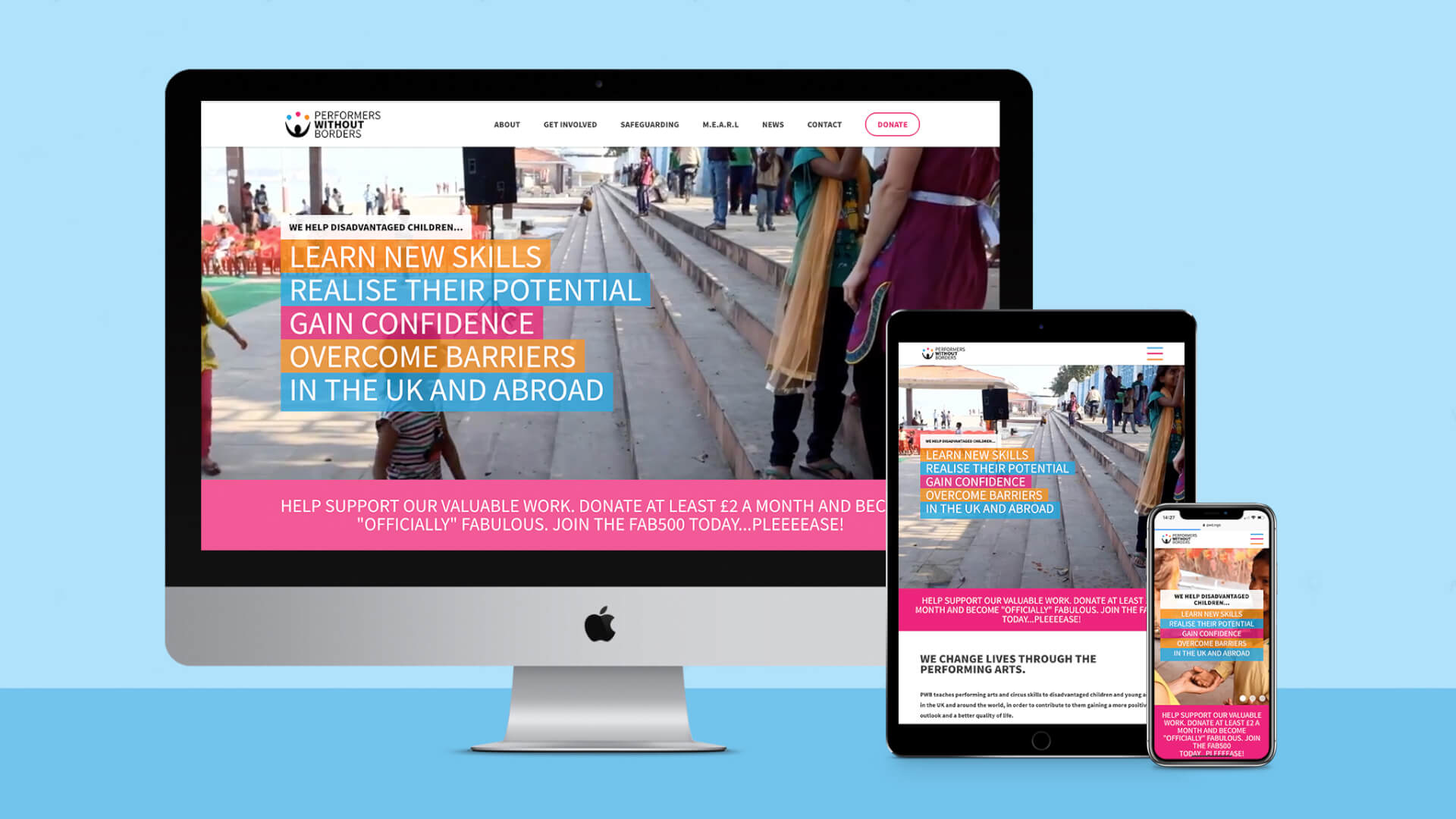 An image showing the home page of the new Performers Without Borders website on three devices: An Imac, an Ipad and an Iphone.