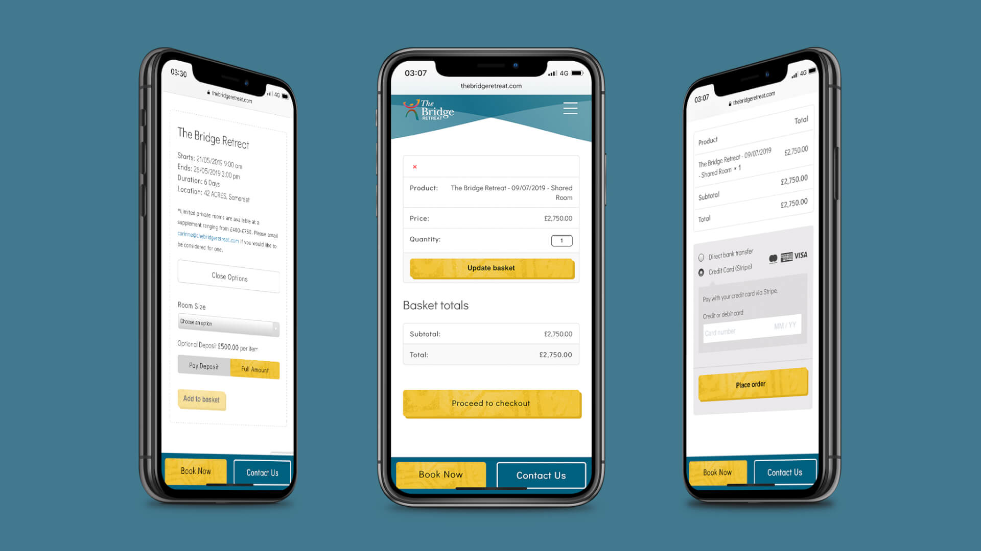 An image showing the various checkout stages for the new digital booking system for The Bridge Retreat on three iphones. From left to right: the retreat selection page, the basket page and the final checkout page.