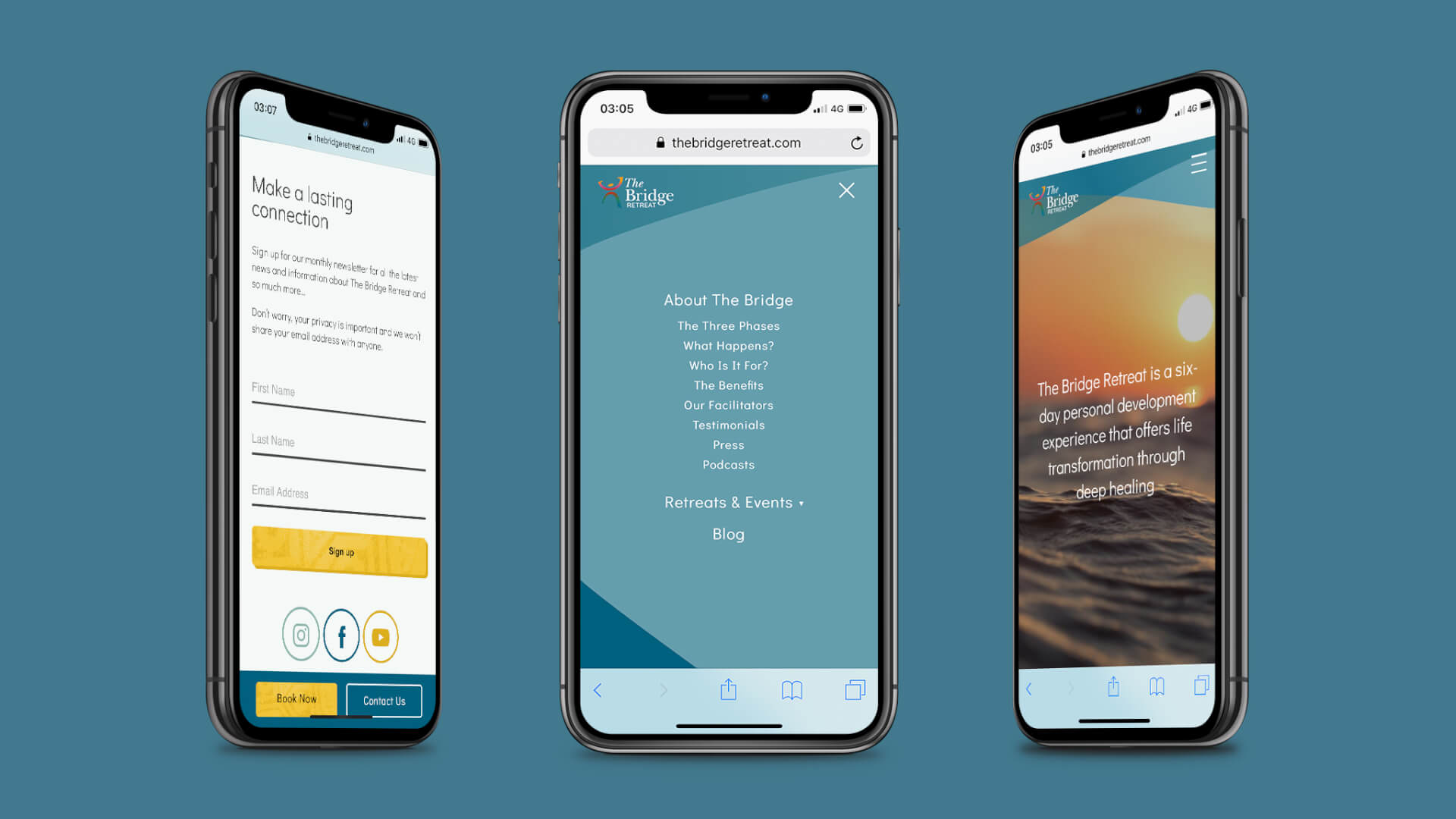 An image showing the new website for The Bridge Retreat on three iphones. From left to right: The newsletter sign up section, the mobile menu and the home page hero section