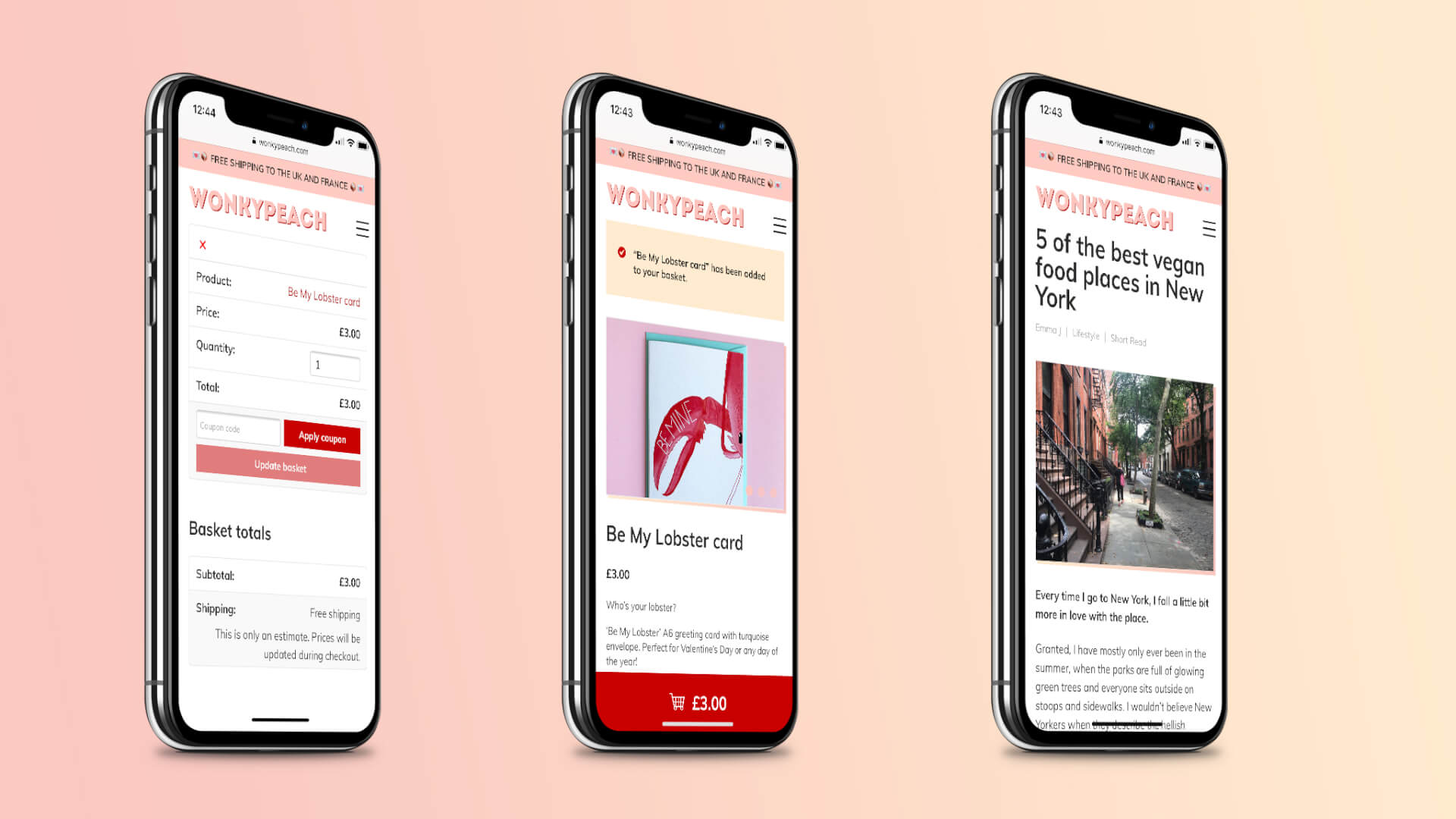 An image showing how three pages of the new Wonkypeach website look on iphones. From left to right: the basket page, the single product page after a product has been added to the basket and a single blog post (this one is titled 5 of the best vegan food places in New York).